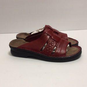 Clarks Red Slip On Sandals size 7